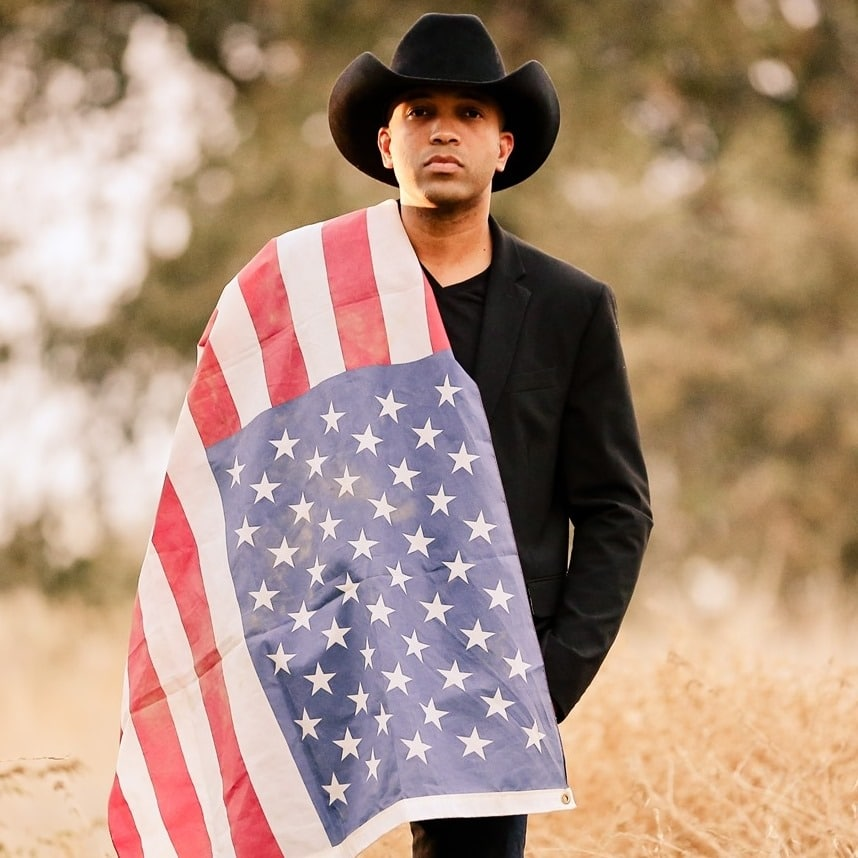 Coffey Anderson with american flag